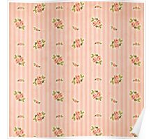 Peach Stripes Floral Poster
