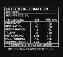 Artistic Information Chart (White Print) by nofrillsart