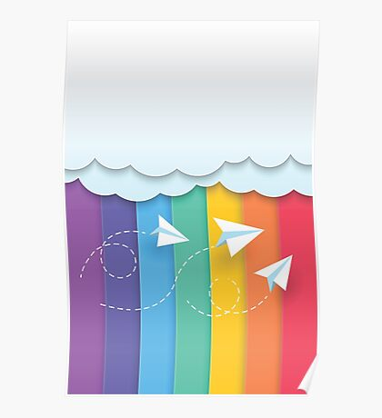 Paper Airplanes Rainbow Poster