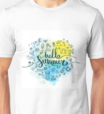 lettering hello summer with set of symbols Unisex T-Shirt