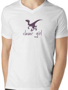 Clever Girl Dinosaur Velociraptor Mens V-Neck T-Shirt