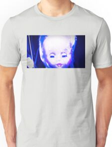 big doll head with lowered eyes Unisex T-Shirt