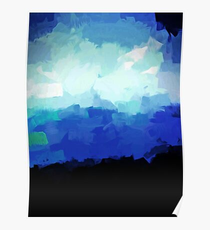 Blue Waves in a Stormy Sea 1 Poster