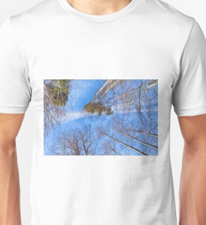 Tall trees against the cloudy sky Unisex T-Shirt
