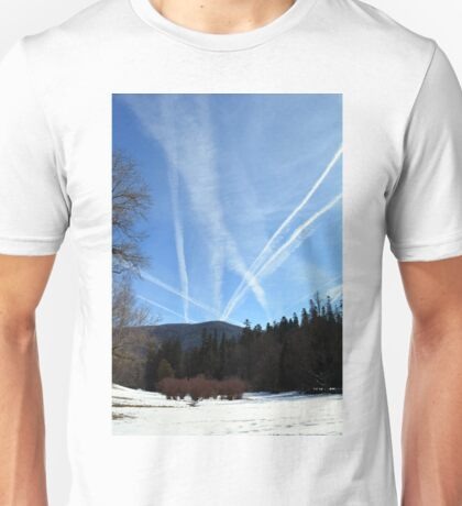 Winter scene in the forest at the mountains with cloudy sky Unisex T-Shirt