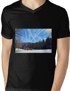 Winter scene in the forest at the mountains with cloudy sky Mens V-Neck T-Shirt