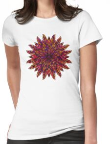 Colored mandala, feathers, petals, lace Womens Fitted T-Shirt