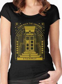 Stairway to the Universe in TARDIS Style Women's Fitted Scoop T-Shirt
