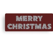 Faux Silver Glitter Merry Christmas Canvas Print