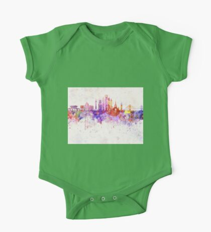 Shanghai V2 skyline in watercolor background One Piece - Short Sleeve