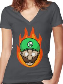 Luigi Is Mad Women's Fitted V-Neck T-Shirt