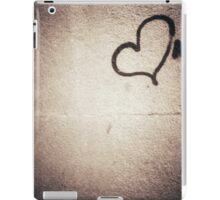 Love heart painted on urban city wall silver gelatin black and white 35mm negative analog film photograph iPad Case/Skin