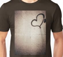Love heart painted on urban city wall silver gelatin black and white 35mm negative analog film photograph Unisex T-Shirt