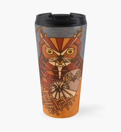Great horned owl and babies Travel Mug