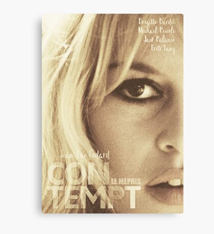 Conetempt, movie Fine Art, Brigitte Bardot, Jean-Luc Godard, Fritz Lang, movie poster,  Canvas Print