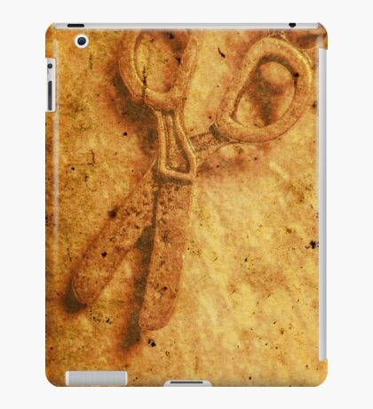 Vintage scissors on textured book cover paper iPad Case/Skin