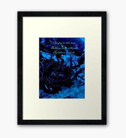 Hues of Blues Haiku Framed Print