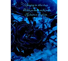 Hues of Blues Haiku Photographic Print
