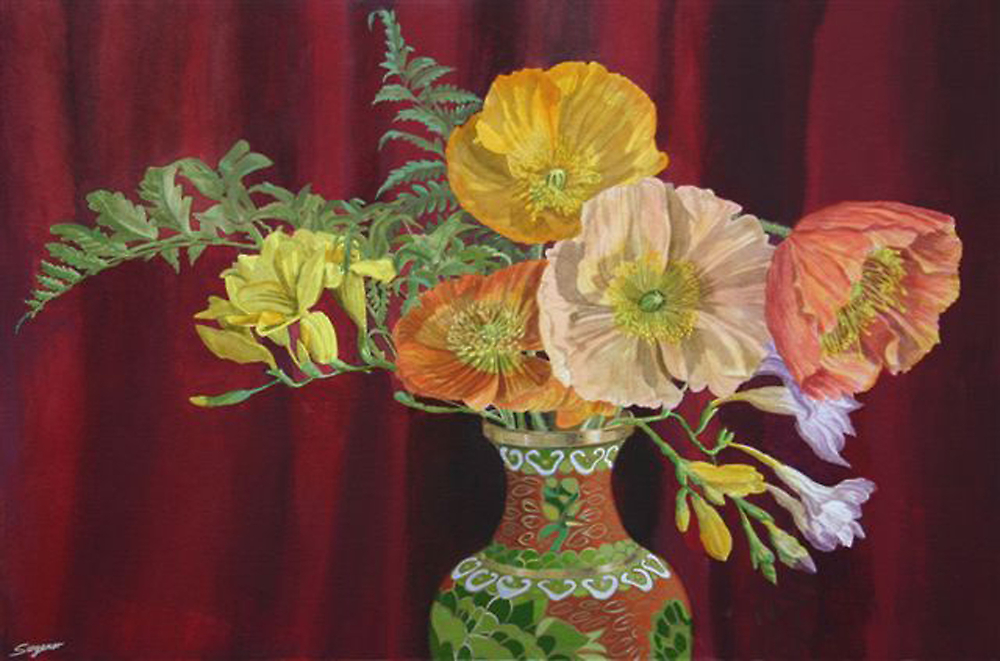 Flowers in a Chinese vase by Freda Surgenor