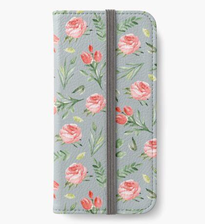Roses. Grey pattern iPhone Wallet/Case/Skin