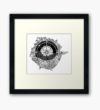 Compass and Whale Framed Print