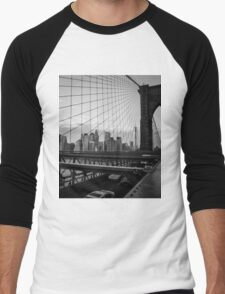 Manhattan view from the Brooklyn Bridge, New York City, NY Men's Baseball ¾ T-Shirt
