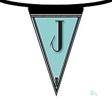 Manhattan 1920s Deco Blues Banner… Monogram letter initial J by CecelyBloom