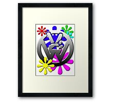 VW Peace hand sign with flowers Framed Print