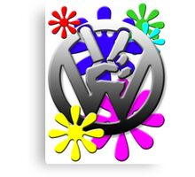 VW Peace hand sign with flowers Canvas Print