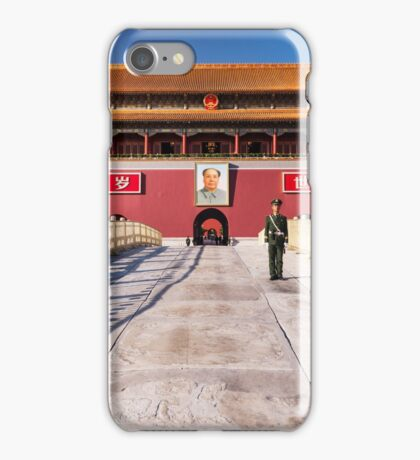 Military guard in front of Tiananmen in Beijing China art photo print iPhone Case/Skin