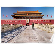 Military guard in front of Tiananmen in Beijing China art photo print Poster