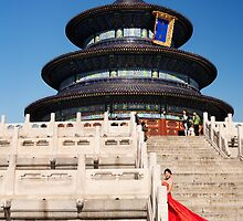 Bride in red dress at the Temple of Heaven art photo print by ArtNudePhotos