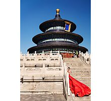 Bride in red dress at the Temple of Heaven art photo print Photographic Print