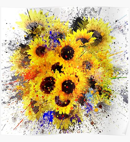 Abstract Splash Sunflower Painting Poster