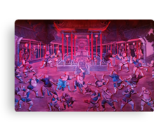 Artwork of Shaolin monks practicing in front of the Temple art photo print Canvas Print