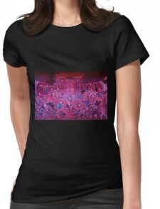Artwork of Shaolin monks practicing in front of the Temple art photo print Womens Fitted T-Shirt
