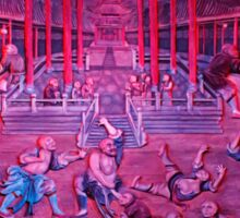 Artwork of Shaolin monks practicing in front of the Temple art photo print Sticker