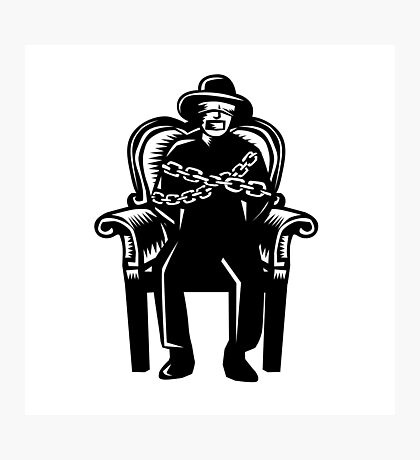 Man Gagged Chained to Grand Arm Chair Woodcut Photographic Print