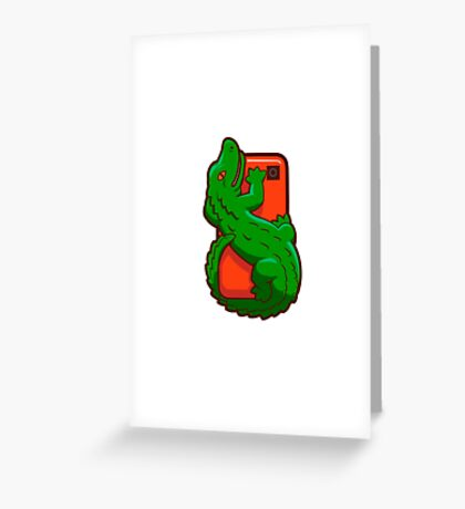 Cartoon crocodile on a cell phone Greeting Card
