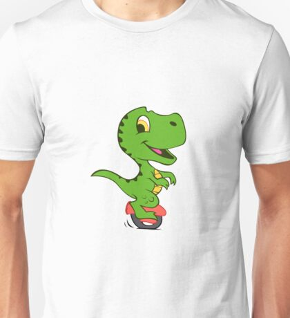 Cartoon dino on electric vehicle of a wheel Unisex T-Shirt