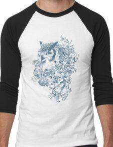 Obscure Blue Owl Men's Baseball ¾ T-Shirt
