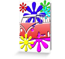 VW BUS with hippie flowers RED version Greeting Card