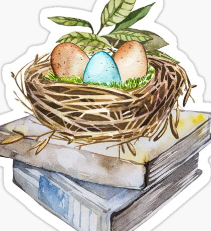 Art bird nest with eggs on the books Sticker