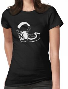 headphones black Womens Fitted T-Shirt