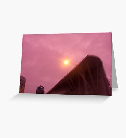 pink city sky Greeting Card