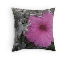 Pink Petunia & Dusty Miller Throw Pillow