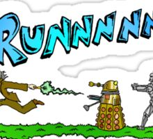 Doctor Who running from enemies Sticker