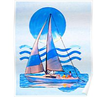 Sail Away With Me - Graphical Sailboat On Blue Poster