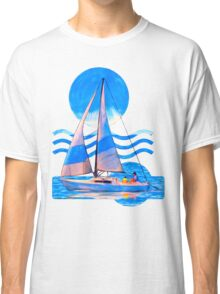 Sail Away With Me - Graphical Sailboat On Blue Classic T-Shirt