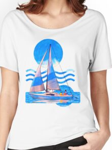 Sail Away With Me - Graphical Sailboat On Blue Women's Relaxed Fit T-Shirt